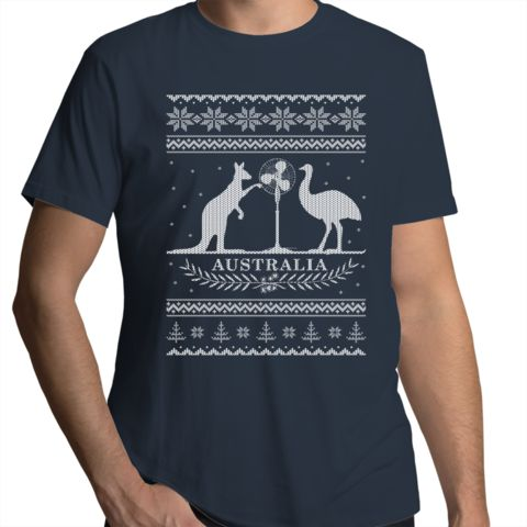 Australian Christmas- Summer Coat of Arms - Mens Funny T-Shirt