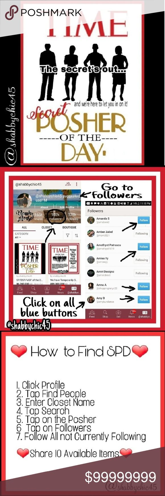 """NEW LISTING Secret/Bonus Posher Announced!! THE OFFICIAL SECRET POSHER GAME!! GAIN 200+ FOLLOWERS A DAY!!!  Follow the """"FOLLOWERS"""" of the SP chosen daily.  Using @freddiesfind SP, my own BSP, and a Mystery SP for even larger follower gains!   IF YOU WISH TO BE THE BSP~COMMENT """"I CAN KEEP A SECRET!"""" ONLY TAG ONCE!  11/17 SP is @herparallax BSP i@cassiecw BSP is @petitezero Secret Posher of the Day Accessories"""