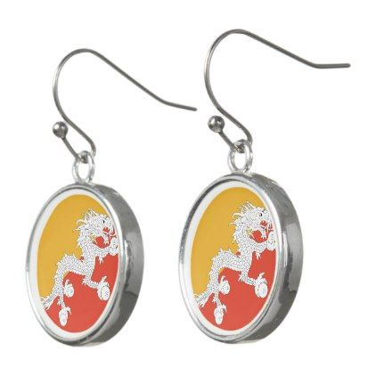 #Bhutan Flag Earrings - #country gifts style diy gift ideas