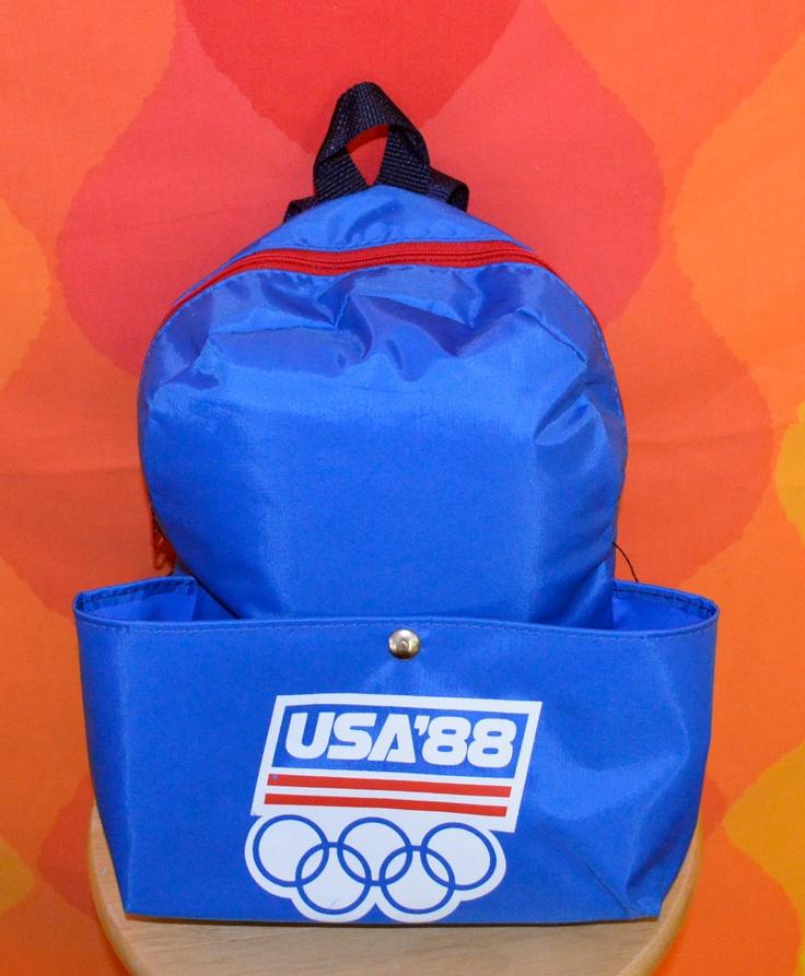 vintage 1988 olympics bag back pack souvenir USA america seoul calgary. $22.00, via Etsy.