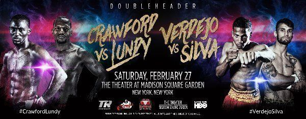 Tweet TERENCE CRAWFORDand FELIX VERDEJO TO MAKE THEIR 2016 DEBUTS IN TITLE DEFENSES AT THE GARDEN!  Saturday, February 27, at Madison Square Garden Live on HBO World Championship Boxing®  TODAY! FINAL PRESS CONFERENCE Madison SquareGarden – Chase Square at11:30 A.M.  STREAMED LIVE AT NOON ET / 9 AM PT via www.toprank.tv  …