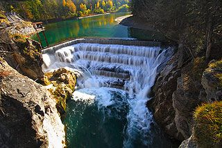 One attraction of Fussen Germany is the Lechfall, the water fall of Lech river