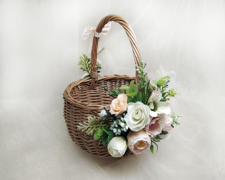 Flower girl basket eucalyptus basket flower girl twig