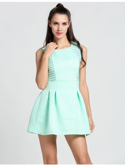 Green O-Neck Party Sundress Dress