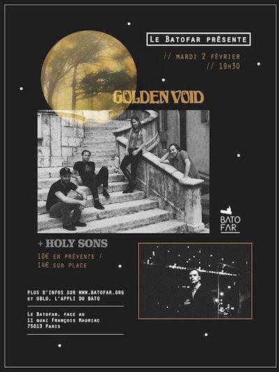 Résultats concours : 6 places gagnées pour le concert de HOLY SONS + GOLDEN VOID au Batofar (Paris)
