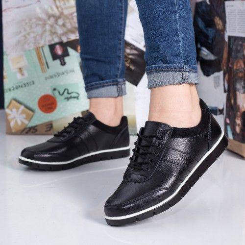 Pantofi dama Piele Michelides negri comozi