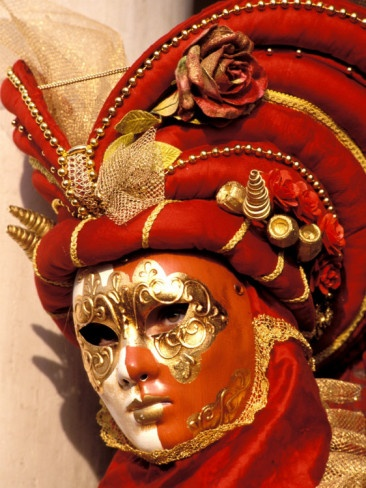 Red and Gold costume and mask, spectacular hat!