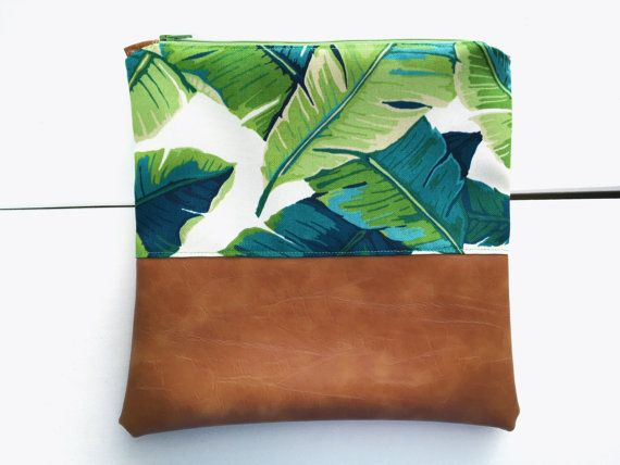 10x10  Green Palm  Faux Leather Clutch/ Makeup Bag by 38thandCo - fold over, tropical, banana leaf, floral, hawaiian