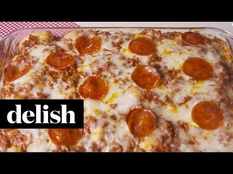 Garlic-Knot Pizza Casserole - How to Make Garlic Knot Pizza - Delish.com