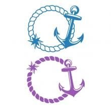 Rope and Anchor Monogram SVG Cuttable Frame