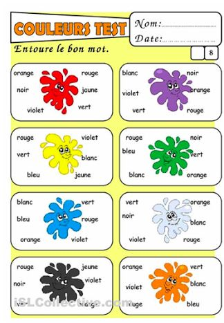 French worksheets - colours