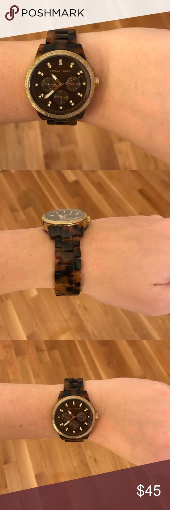Michael Kors Tortoise Shell watch Super cute Michael Kors Tortoise Shell watch! Lightly used - stainless steel. Brown tortoise shell band with gold hardware details. Battery is dead. Michael Kors Accessories Watches