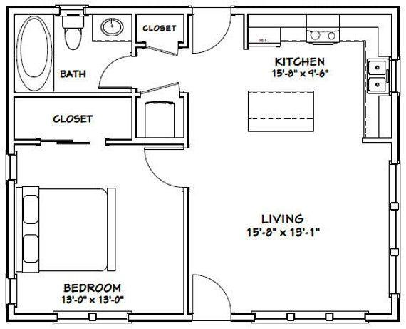 30x24 House 1 Bedroom 1 Bath 720 Sq Ft Pdf Floor Plan Etsy In 2020 Tiny House Floor Plans Small House Plans One Bedroom House