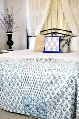 Mint Blue Hand Block Patchwork Kantha Quilt