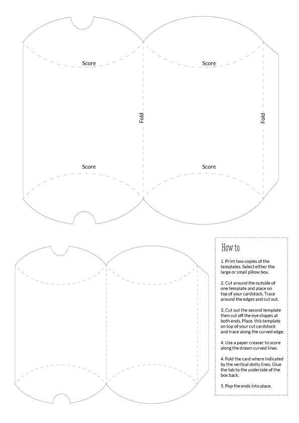 Pillow box Templates Large and Small