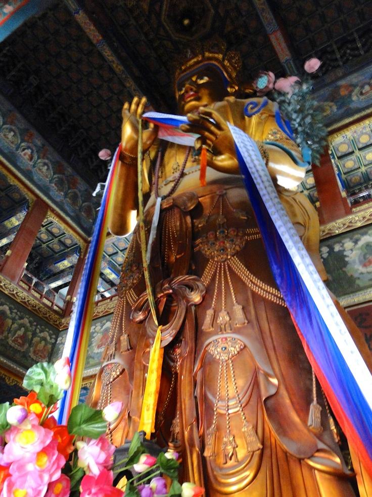 Bouddha géant en bois recouvert de feuilles d'or - Beijing - Chine