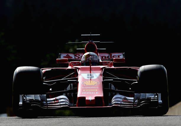 Sebastian Vettel of Germany driving the Scuderia Ferrari SF70H on track during practice for the Formula One Grand Prix of Belgium at Circuit de...
