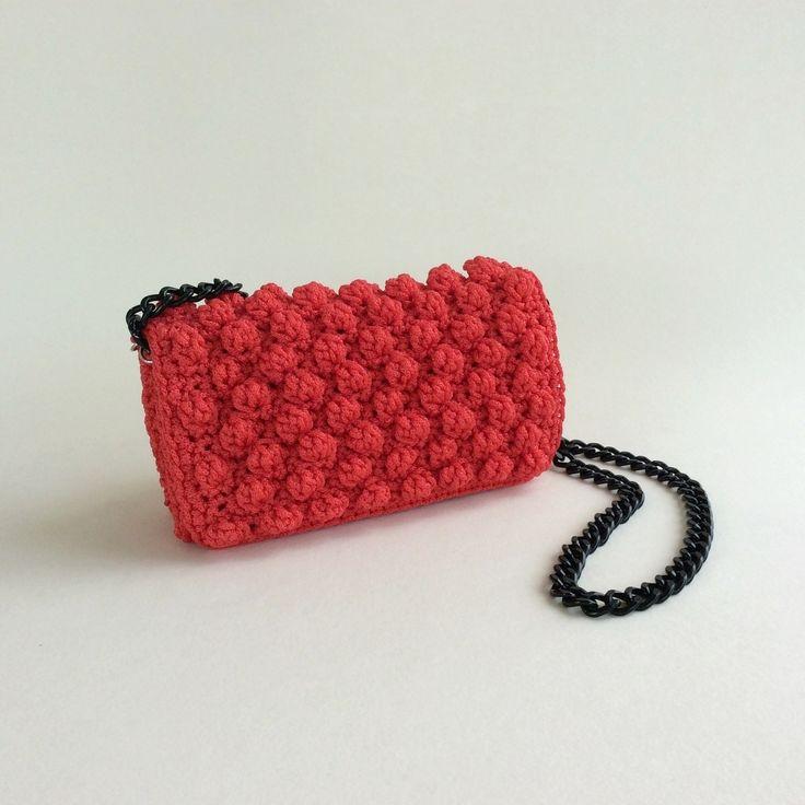 Red & black crochet bag