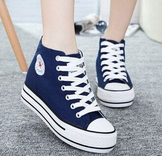Lades High-Top Platform Canvas Lace-Up Wedge Sneakers 4 Colors