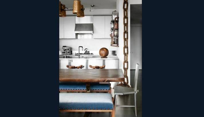 decoracao de cozinha hippie : decoracao de cozinha hippie:Na cozinha, a mesa de jantar, feita de madeira, remete ao clima da