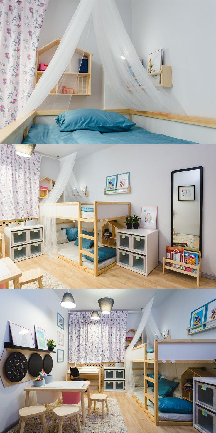 Pokój siedmioletniej Zuzi, która kocha rysować i lubi przyjmować koleżanki.