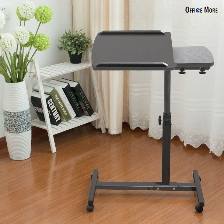 Rolling Laptop Desk Adjustable Angel & Height Hospital Table Over Bed Stand #ZETY #Modern