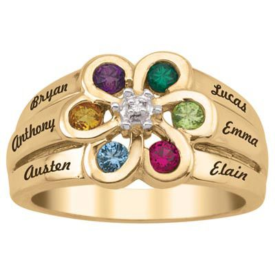 Zales Mothers Birthstone Flower Petal Wrap Ring (2-4 Stones and Names)