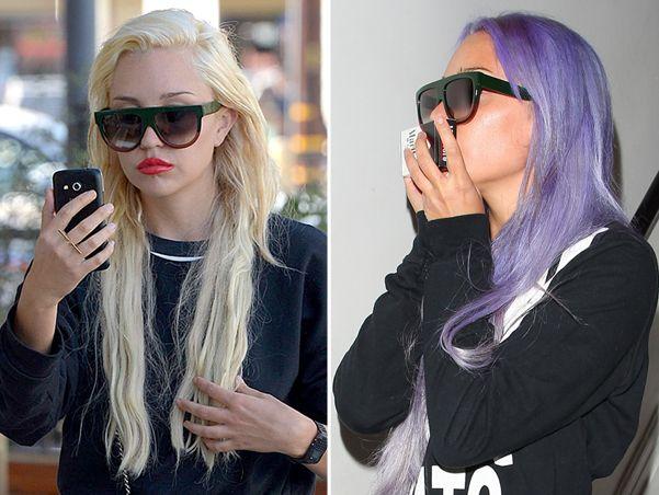 Аманда Байнс перекрасила волосы в фиолетовый цвет