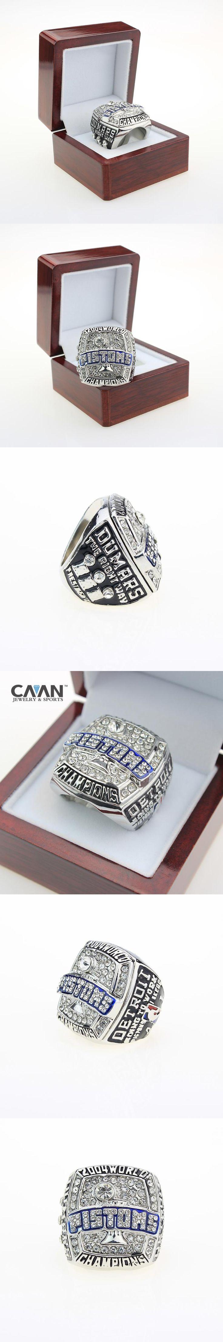 Free shipping Hot selling Sport ring  2004 Detroit Piston Basketball World Championship Ring Replica Size 11 Free shipping