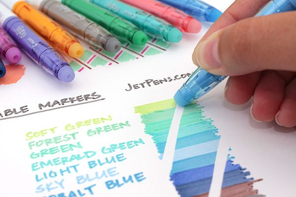 Pilot's FriXion Colors markers produce solid color, plus mistakes are okay because the ink is erasable!