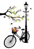 Bicicleta com lâmpada, flores e árvores, vetor —  Vetores de Stock #13387641