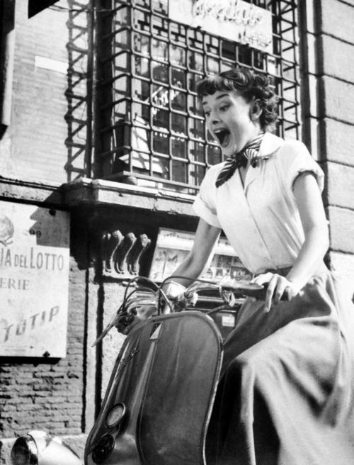 Vintage Audrey riding Vespa