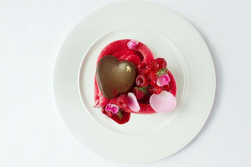 A heart-shaped Pavlova with chocolate and vodka mousse served to complement L'elisir d'amore © Royal Opera House Restaurants 2012 by Royal O...