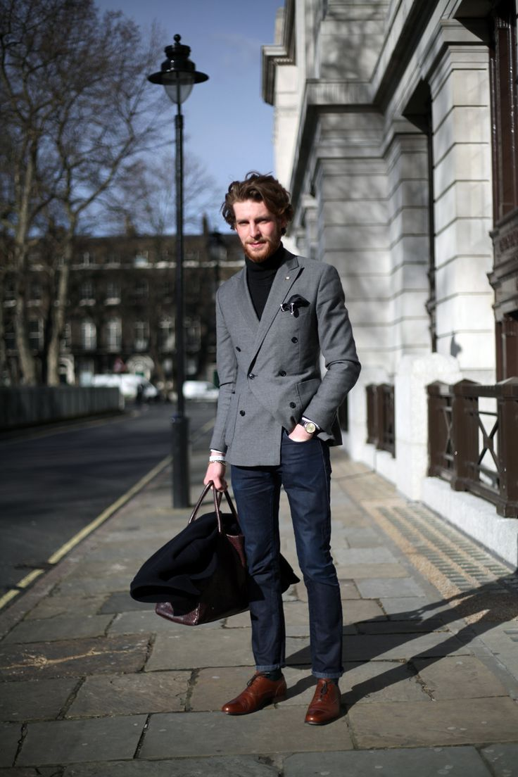 wgsn:  Crisp DB over a polo-neck outside @JacketReqd. More street shots in the uncut gallery. Jonathan Daniel Pryce for WGSN street shot, Jacket Required