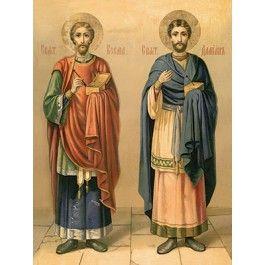 SS Cosmas and Damian, Starting at $3.00. All sizes. Catalog of St. Elisabeth Convent. http://catalog.obitel-minsk.com/ministry #CatalogOfGoodDeed #buy #order #icon #saints #church #orthodox #Christianity #wood #ecclesiastical #Cosmas #Damian