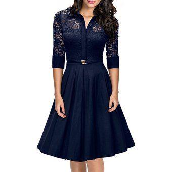 Vestido Grande Del Oscilación Delgada De La Solapa De Encaje Temperamento (azul Oscuro)