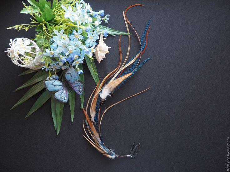 Осенняя слива- коричнево-синие перья для волос на съемной заколке бохо - полосатый, перо