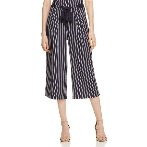 Aqua Striped Culotte Pants - 100% Exclusive (45 NZD) ❤ liked on Polyvore featuring pants, aqua pants, wide leg cropped trousers, cropped trousers, aqua blue pants and wide leg trousers