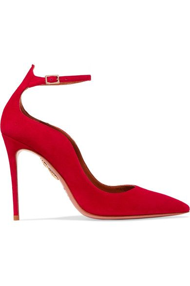 Heel measures approximately 105mm/ 4 inches Red suede Buckle-fastening ankle strap Designer color: Lipstick Made in Italy