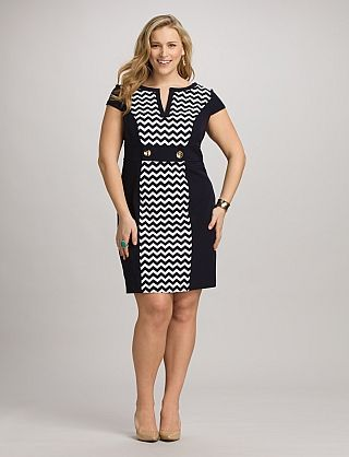 Plus Size Colorblock Chevron Dress | Dressbarn navy and white ...gorg! would look so cute with RED patent heels