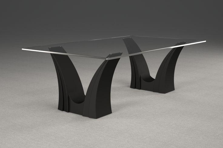 Articolo 3EA-35     Tavolino da salotto Apollo - Finitura: laccato nero opaco.Misure: cm 110 x 65 - Altezza cm 37  - Peso: Kg.45 - Vetro: rettangolare -  temperato - extrawhite - filo lucido - spessore 1 cm