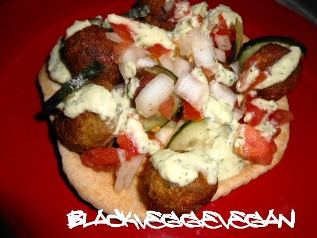 BVV Falafel Sandwich W/Cucumber, Tomatoes & Onions Topped With ...