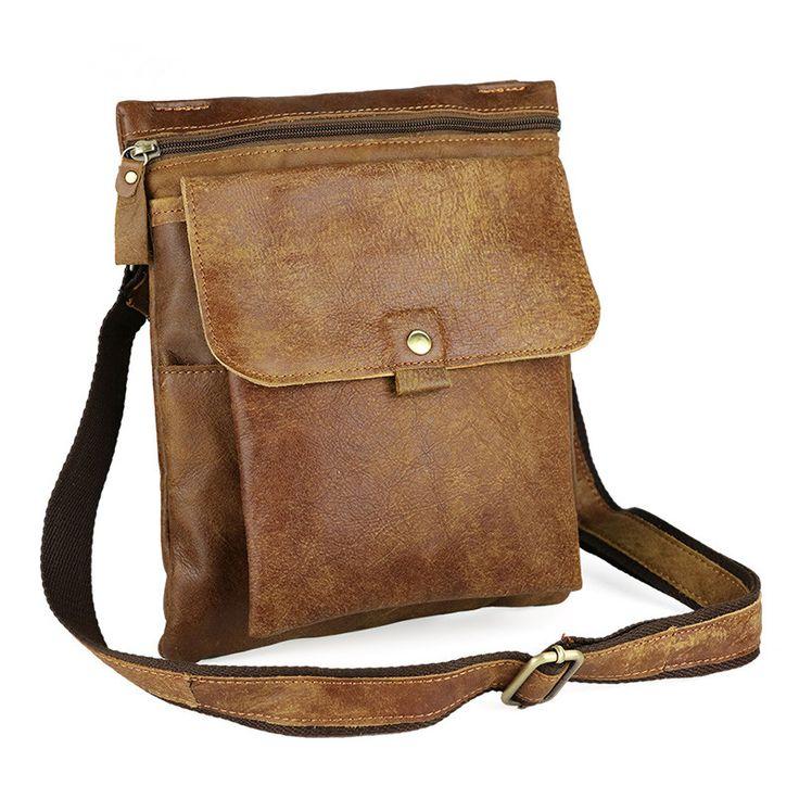 Nesitu Vintage 100% Guarantee Real Skin Genuine Leather Small Men Messenger Bags Cowhide Man Bag #M8303 #Affiliate