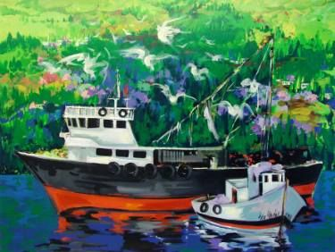 "Saatchi Art Artist Seba Art Gallery; Painting, ""balıkçılar"" #art"