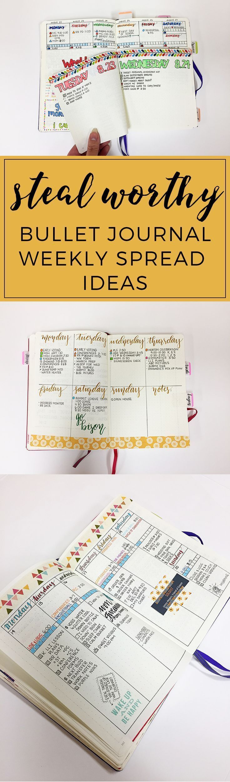 Steal-worthy Bullet Journal Weekly Spread Ideas http://productiveandpretty.com/bullet-journal-weekly-spread-ideas/?utm_campaign=coschedule&utm_source=pinterest&utm_medium=Jen%20%2B%20Liz%20%7C%20Productive%20and%20Pretty&utm_content=Steal-worthy%20Bullet%