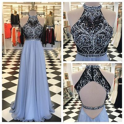 2018 Long Prom Dress, Sparkly Beads Long Prom Dress, Long Prom Dress with Open Back
