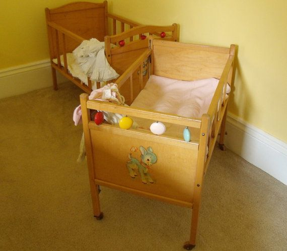 Large Wooden Crib - Vintage Doll Bed - Whitney Bros. Co.
