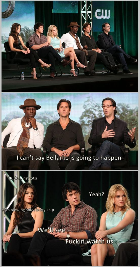 Even the cast ships Bellarke || Marie Avgeropoulos, Bob Morley, Eliza Jane Taylor, Isiah Washington, Henry Ian Cusick and Jason Rothenberg || Octavia Blake, Bellamy Blake, Clarke Griffin, Thelonius Jaha, Marcus Kane || The 100