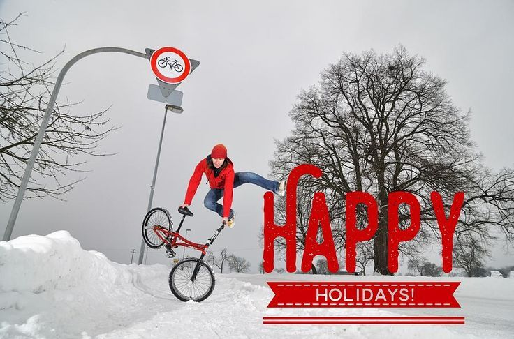 Jumping BMX Flatland woman, cool and modern Christmas / Holiday postcard / greeting card.  Rider: Monika Hinz (multiple BMX Masters winner, category Girls Flatland). Give some BMX Flatland love to your friends and family and buy a card here: http://matthias-hauser.artistwebsites.com/products/happy-holidays-bmx-flatland-jump-matthias-hauser-greeting-card.html (c) Matthias Hauser hauserfoto.com