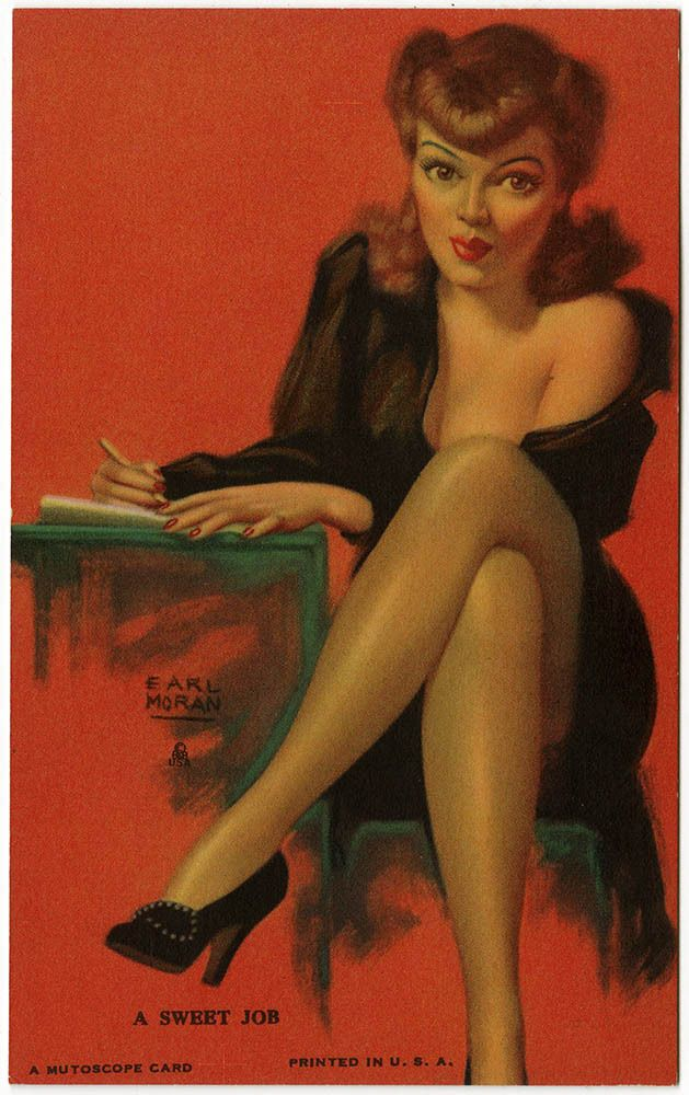Earl Moran 1940s Art Deco Pin-Up Mutoscope Card A Sweet Job Risque Secretary NR #MutoscopeCard